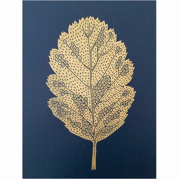 Leaf gold/blue 30×40