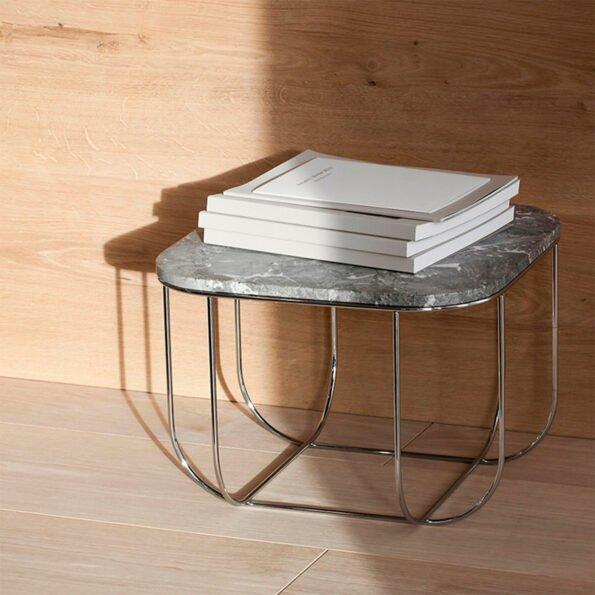 Cage bord marmor/krom